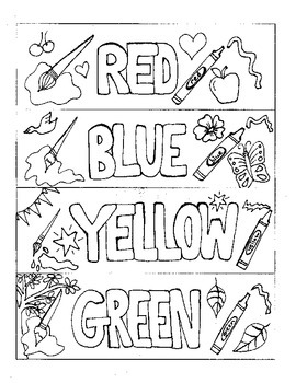 Bookmarks to Color: Colors (red, blue, yellow, green) by