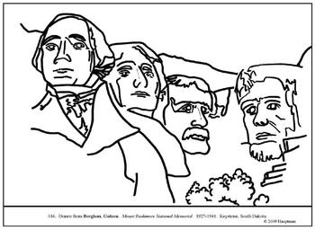 Borglum, Gutzon. Mount Rushmore. Coloring page & lesson