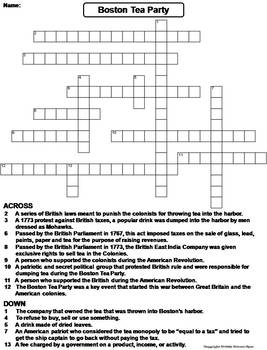 Boston Tea Party Worksheet/ Crossword Puzzle by Science