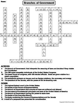Branches of Government Worksheet/ Civics Crossword Puzzle