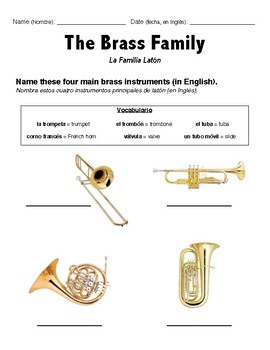 Brass Family ELL Worksheet by Veronica Lawrence  TpT
