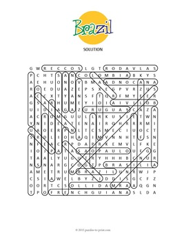 Brazil Activity: BRAZIL GEOGRAPHY WORD SEARCH by Puzzles