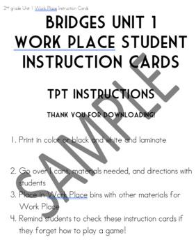 Bridges Units 7 & 8 Work Place Student Instruction Cards