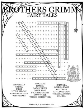 Brothers Grimm Fairy Tales word search puzzle worksheet by