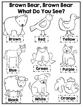 Brown Bear Brown Bear Coloring Activity by Courtney
