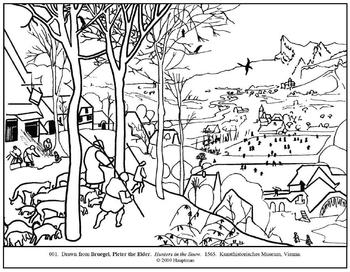 Bruegel. Hunters in the Snow. Coloring page and lesson