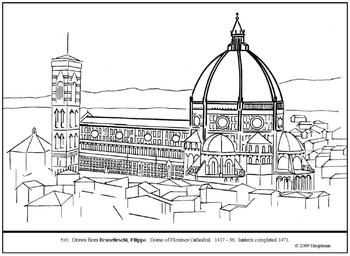 Brunelleschi. Florence Cathedral Dome. Coloring page