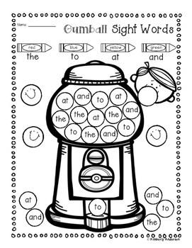 Bubble Gum Sight Word Mega Bundle Practice (Primer / 1st