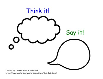 Bubble Thoughts Lesson: Think it! or Say it! by Kids Get