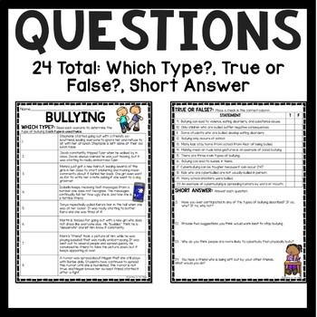 Bullying Reading Comprehension Worksheet for Upper