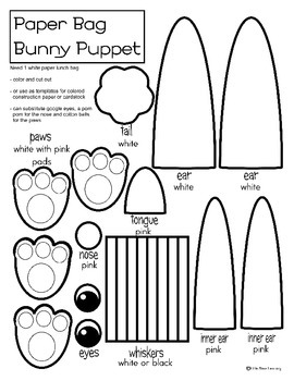 Bunny Paper Bag Puppet Coloring or Template by Little