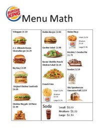 Menu Math Worksheets Wiildcreative Mcdonald S By