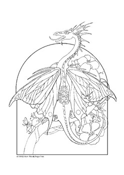Butterfly Dragon Coloring Page By Friendly Dragon Prints Tpt