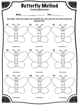 Butterfly Method of Fraction Subtraction Math Center