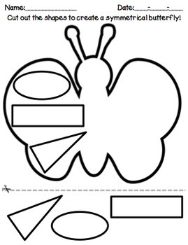 Butterfly Shapes Symmetry, Math Cut and Paste by Mrs