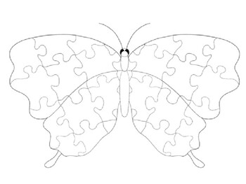Butterfly with Jigsaw Puzzle Pattern coloring page by