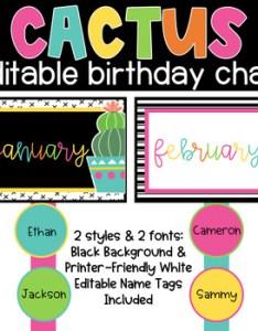 also cactus birthday chart classroom theme by sandy   schoolhouse style rh teacherspayteachers