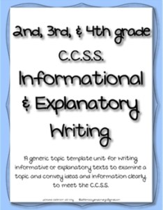 Informational explanatory writing ccss anchor charts  generic topic templates also rh teacherspayteachers