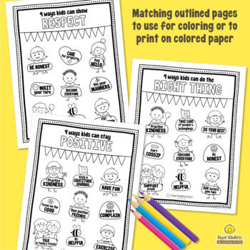 CHARACTER TRAITS POSTER & COLORING PAGES for a Growth