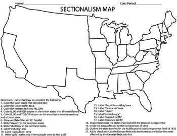 CIVIL WAR-Sectionalism Map Homework/Activity/Printable by