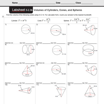 Finding Volume Of Cylinders Cones And Spheres Worksheet