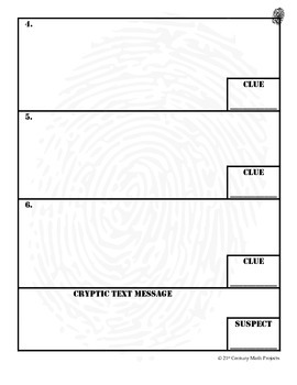 CSI Project Student Evidence Worksheet (FREEBIE!) by Clark
