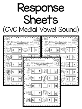 Word Work Activity Cards--CVC Isolating Medial Sound