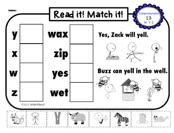 CVC Reading Comprehension Worksheets for Beginners, RTI