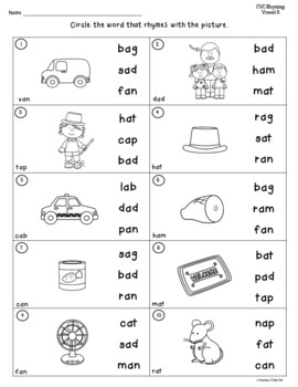 CVC Words Rhyming Worksheets by Teacher's Take