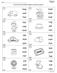 CVC Words Rhyming Worksheets by Teacher's Take