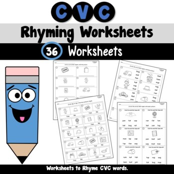 CVC Words Rhyming Worksheets by Teachers TakeOut  TpT