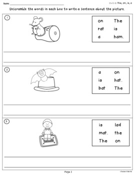 CVC Unscramble Sentences Worksheets by Teachers TakeOut