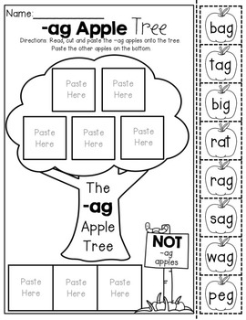 CVC Word Family Apple Trees NO PREP (Cut and Paste) by The