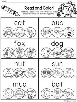 CVC Words Worksheets (Kindergarten & First Grade) by My
