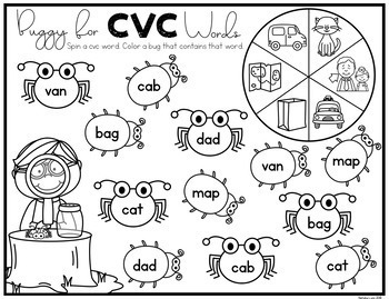 CVC Worksheets: Spin and Color CVC Words by Natalie Lynn