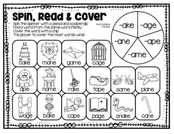 Long Vowel Silent E Word Family Game: Spin, Read and Cover