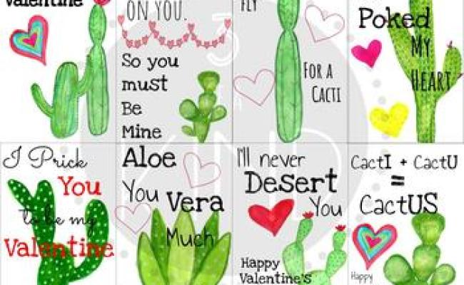 Cactus Printable Valentines Day Cards By Three Of A Kind