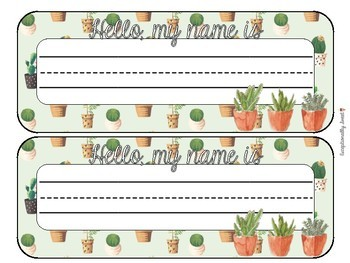Cactus Succulent Classroom Name Tags Desk Plates by
