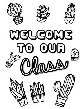 Cactus, Succulents Door Sign, Bulletin Board Kit, Art