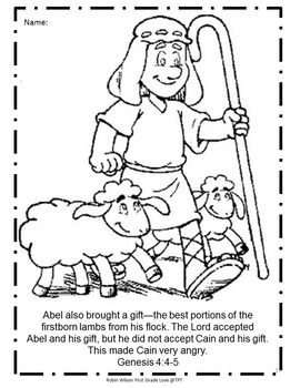 Cain and Abel Activities by Robin Wilson First Grade Love