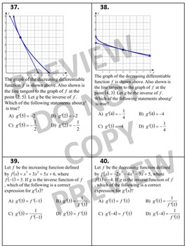Calculus 100 Multiple Choice or Free Response Questions on