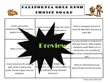 California Gold Rush Choice Board Social Studies Activity