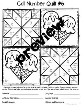 Call Number Quilt Summer Edition by Elementary Library