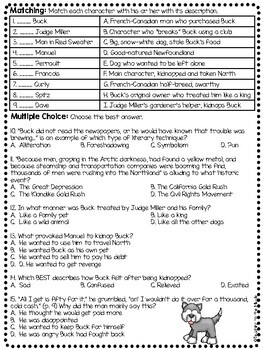Call of the Wild Chapter 1 Reading Comprehension Worksheet