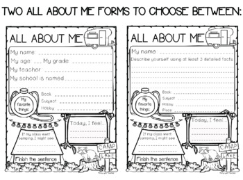 Camping Theme All About Me and Back to School {A FREE Set