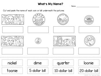 Canadian Money Unit for Grade 1 (Ontario Curriculum) by