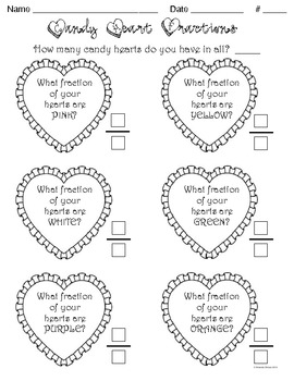 Candy Heart Fractions {Valentines Math} by Teacher Treats