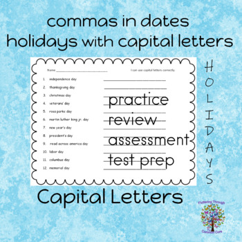 Capital Letters and Commas Worksheets practice, review