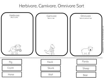 Carnivores, Herbivores, Omnivores Worksheet by Green Apple