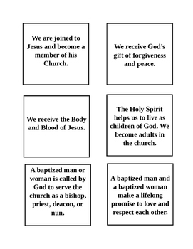 Catholic Sacrament Matching Game By Bailey Carr